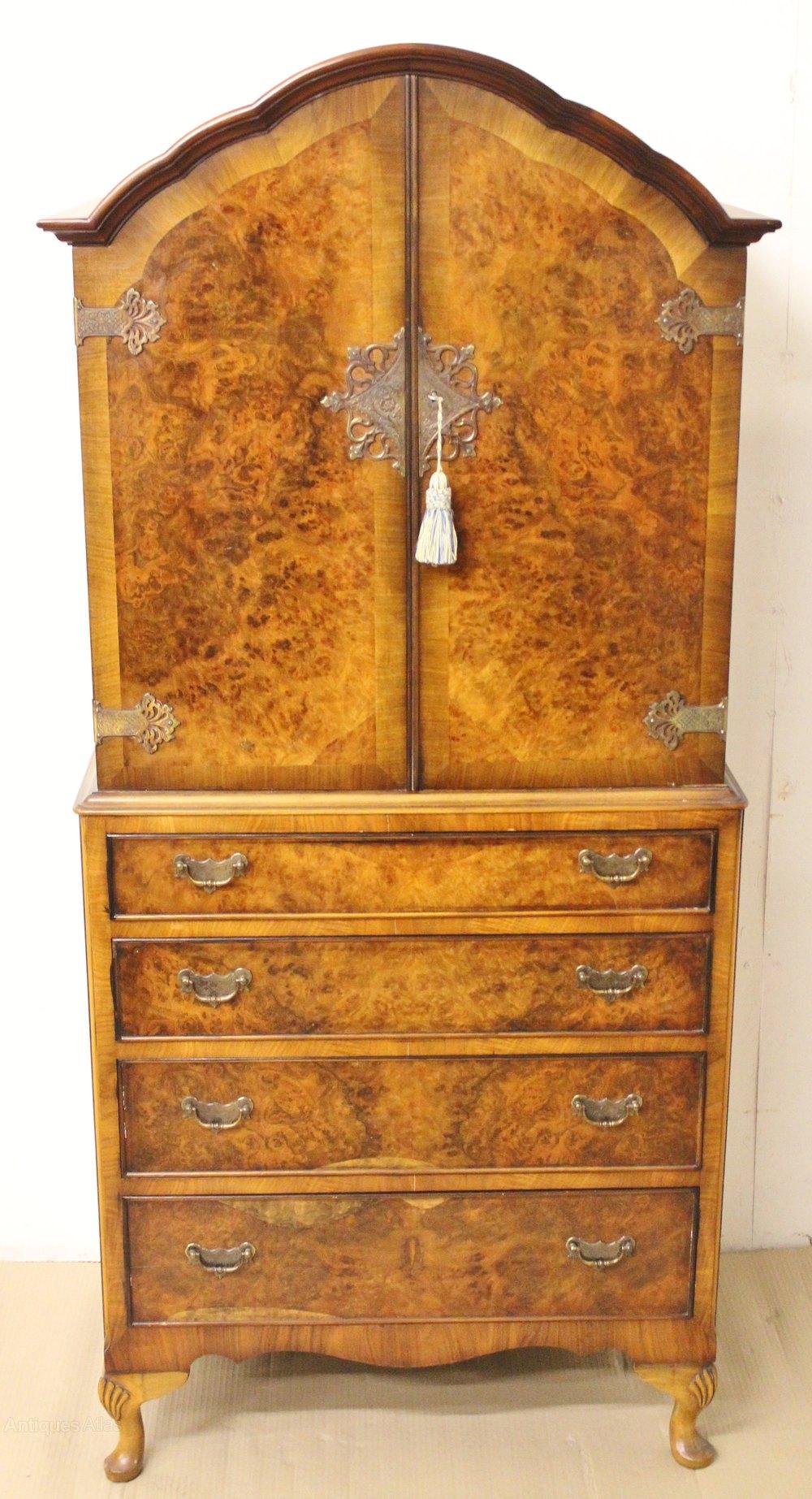 Queen Anne Style 4 Piece Burr Walnut Bedroom Suite