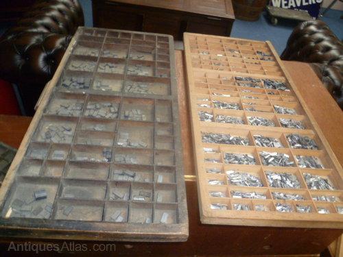 Vintage Wood Printers Tray