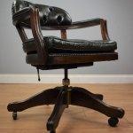 Antiques Atlas Green Leather Swivel Office Desk Chair