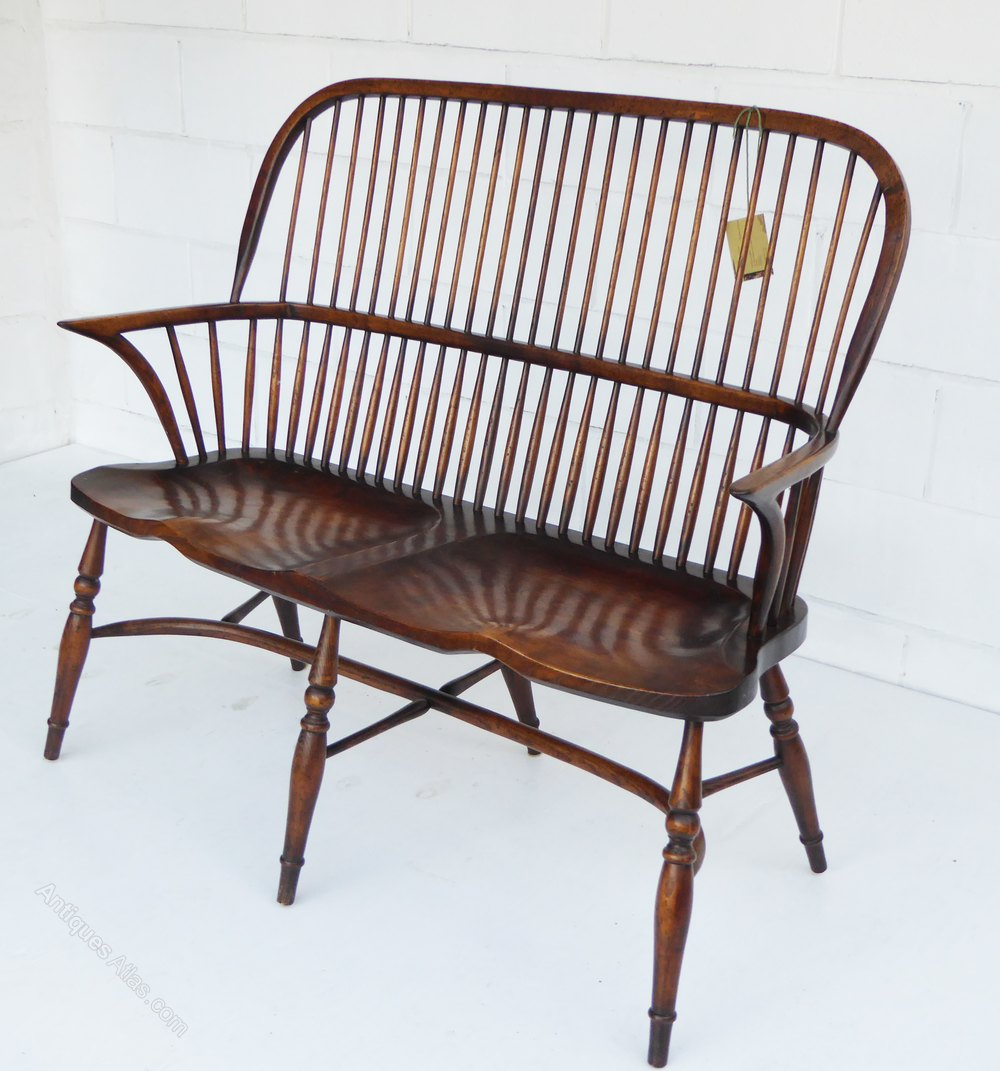 Antiques Atlas Windsor Style Stick Back 2 Seater Settee