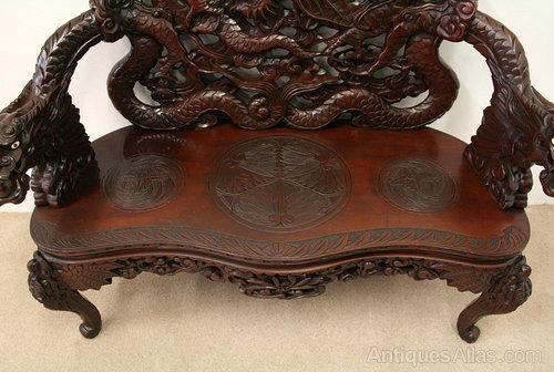 Carved Hardwood Japanese Settee Bench Antiques Atlas