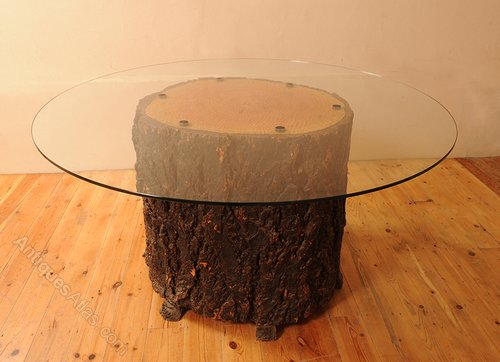 glass topped feature tree trunk dining room table