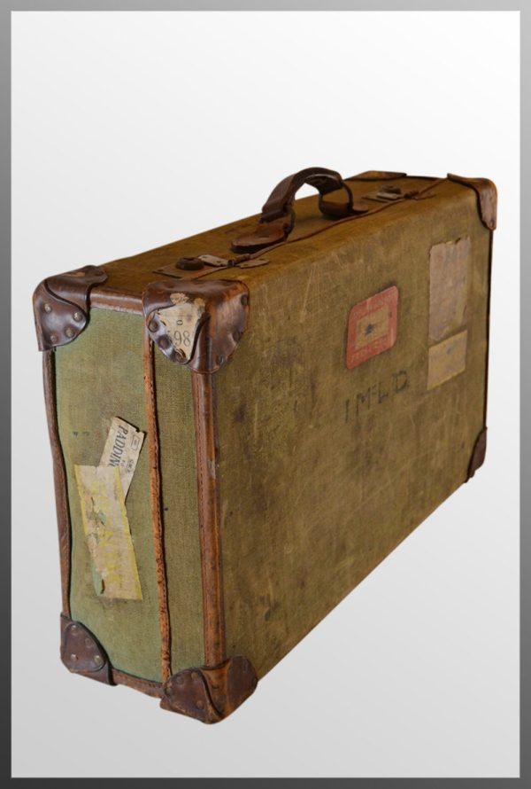 Antiques Atlas - Vintage Leather Bound Suitcase Travel ...