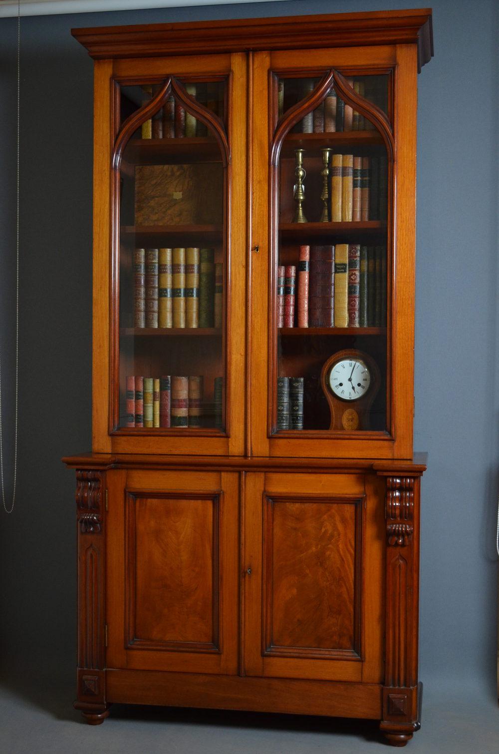 Victorian Mahogany Bookcase Gothic Revival
