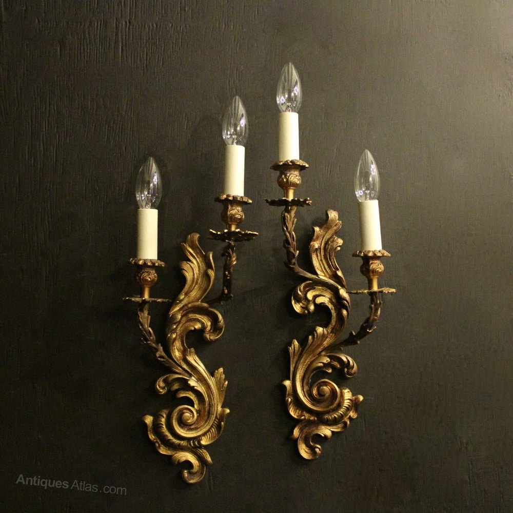 Antiques Atlas - French Pair Of Gilded Antique Wall Sconces on Vintage Wall Sconces id=28477
