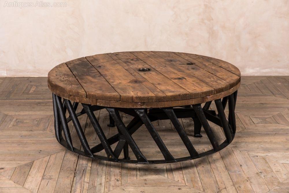 vintage tractor wheel coffee table