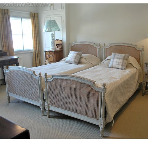 pair or superking french cane bed