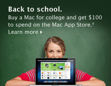 Back to School. Buy a Mac for college and get $100 to spend on the Mac App Store.† Learn more