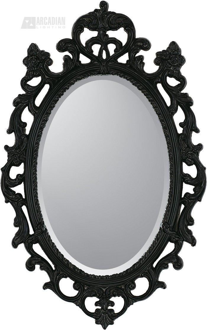 Malanta Knowles 8851 Black Ornate Traditional Oval Mirror PPG 8851