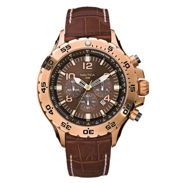Nautica Watch N18522G NST Chronograph, 24 Hour Time, Tachymeter, Luminous, Brown