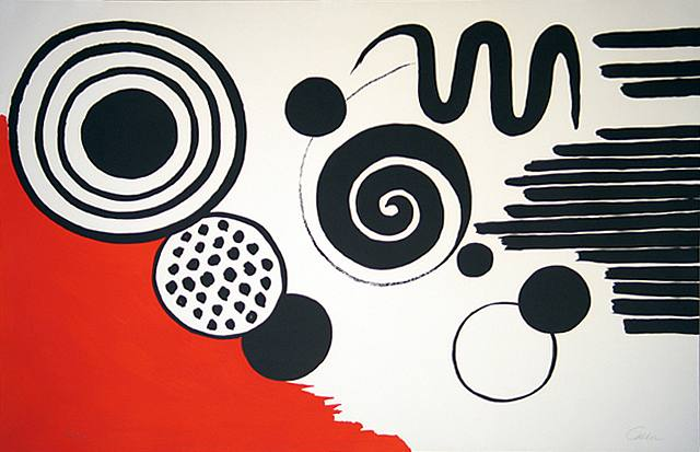 Alexander Calder, Composition with Black Spirals and Circle with Red