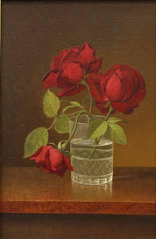 Martin Johnson Heade, Still LIfe wtih Roses in a Crystal Glass