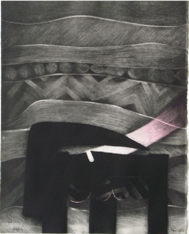 TITLE:    El lugar, los instrumentos III ARTIST:  Fernando de Szyszlo WORK DATE:  1991 CATEGORY:  Works on Paper (Drawings, Watercolors etc.) MATERIALS:  mezzotint etching SIZE:  h: 21 x w: 16.8 in / h: 53.3 x w: 42.7 cm
