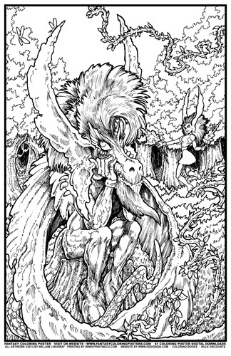 Fantasy Coloring Poster 6 Dragonman Daydreamer By