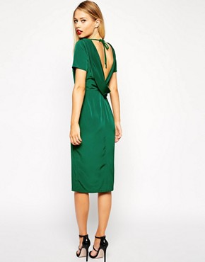Image 1 ofASOS Clean Pencil Dress with Cowl Back