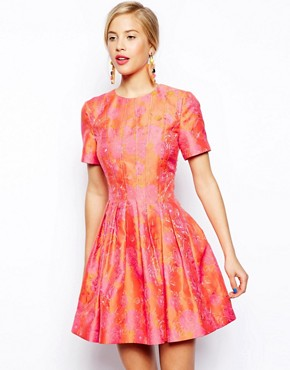 Image 1 of ASOS SALON Bright Floral Jacquard Skater Dress