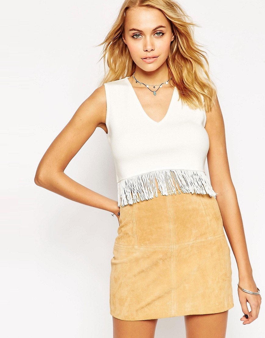 Image 1 of ASOS Crop Tank In Knit With Fringing