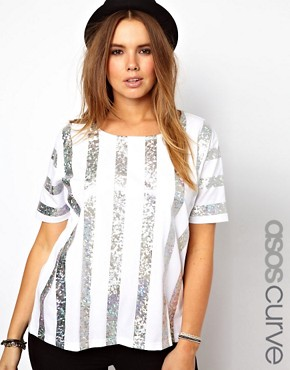 ASOS CURVE Hologram Stripe Swing Top £25
