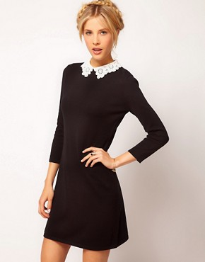 Image 1 ofASOS Knit Dress With Lace Collar