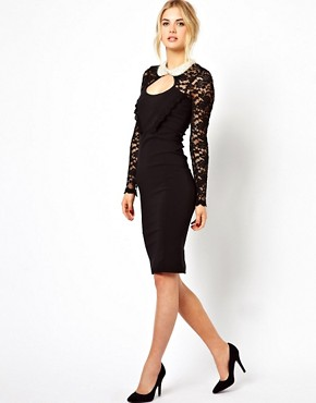 Image 4 ofTempest Dolly Pencil Dress With Lace Sleeve and Beaded Collar