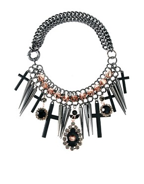 Image 1 of ASOS Premium Spike Jewel Cross Necklace
