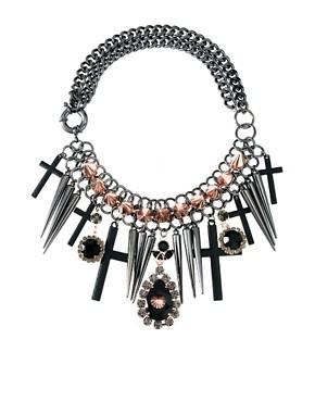 Image 1 ofASOS Premium Spike Jewel Cross Necklace