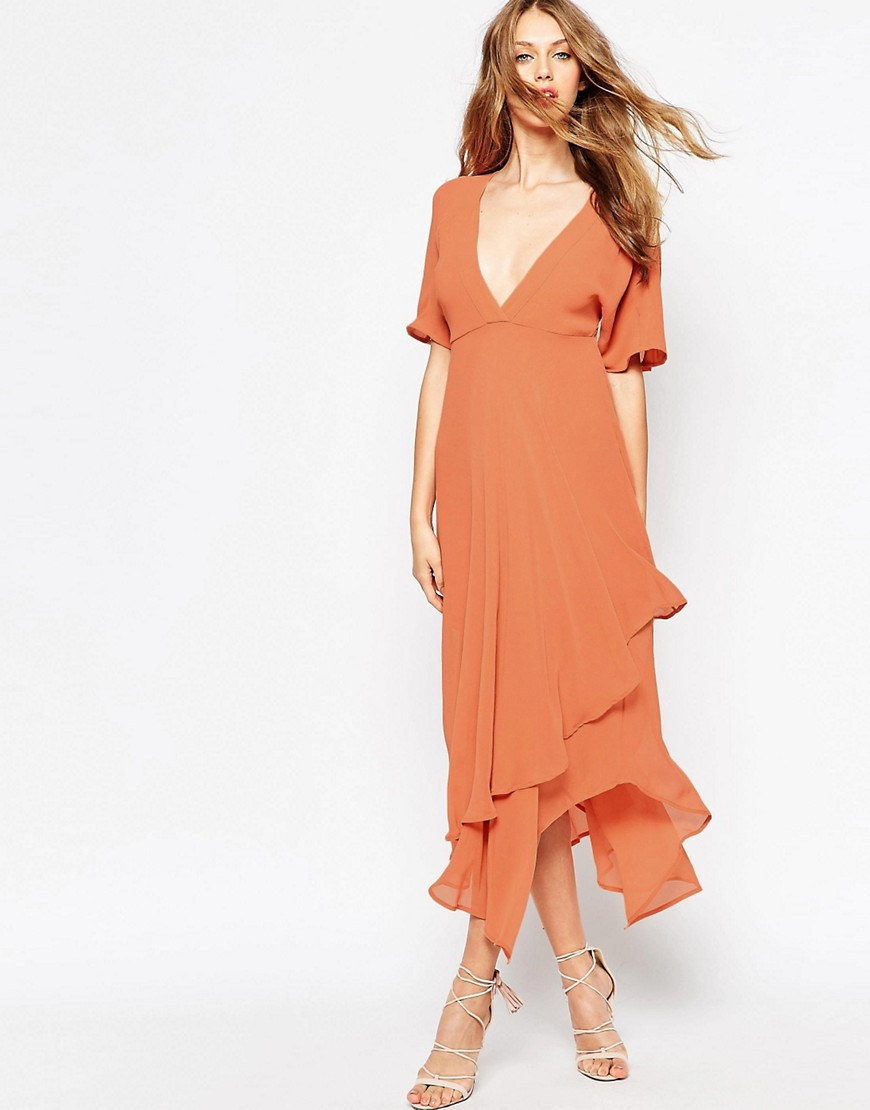 Image 4 of ASOS Midi Dress with Plunge Neckline
