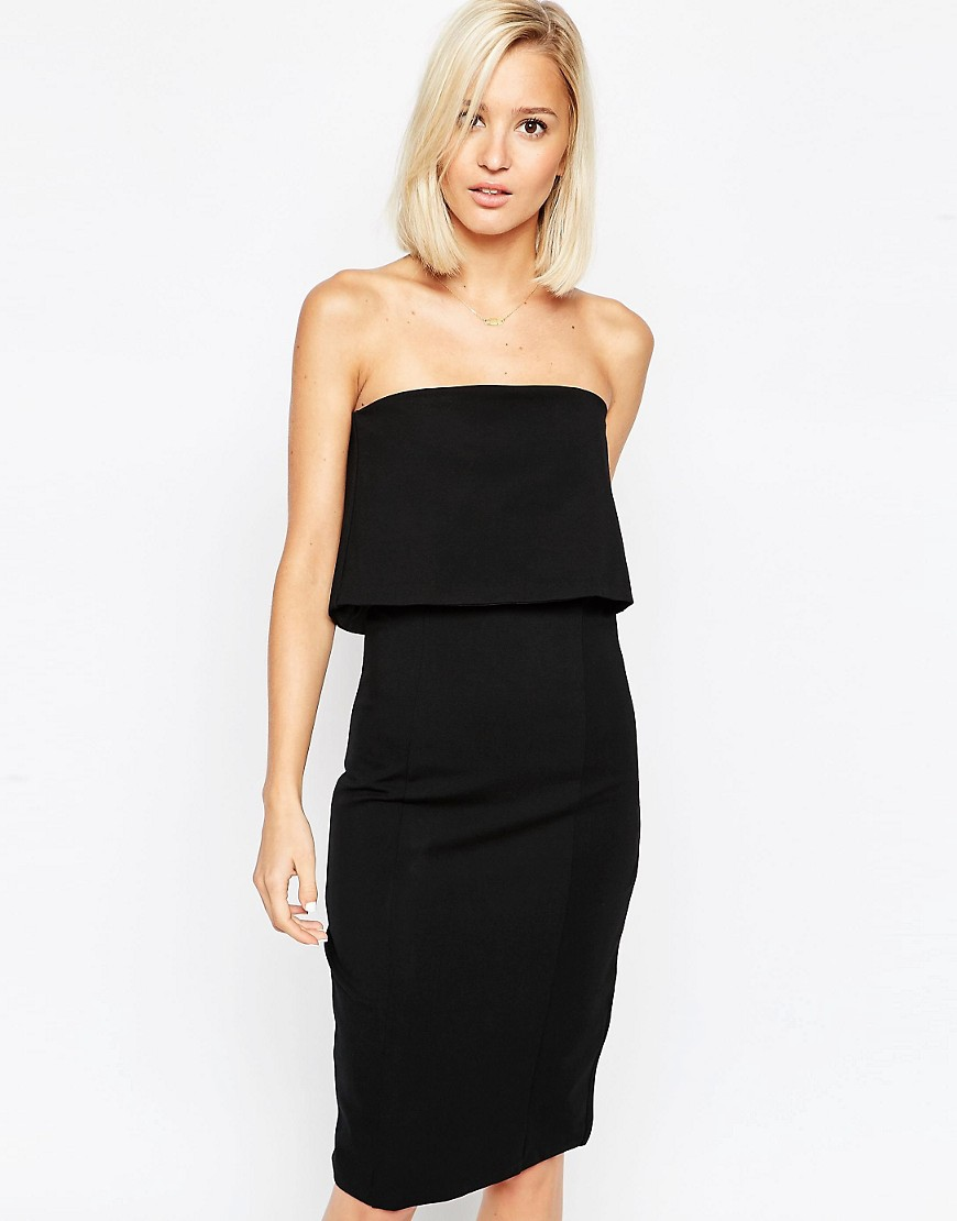 Image 1 of Lavish Alice Bandeau Bodycon Midi Dress with Cropped Detail