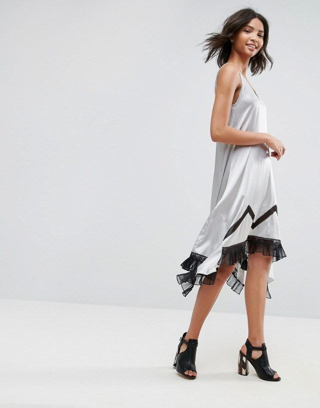 To Be Adored Ada Silk Asymmetric Slip Dress with Lace Hem, $269.0