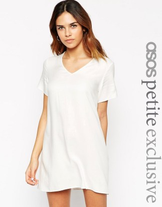 Image 1 of ASOS PETITE V Neck Dress with T Shirt Sleeve