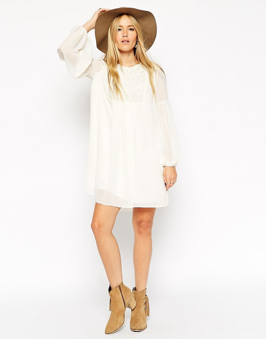ASOS Swing Boho Dress with Lace Bib