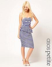 ASOS PETITE Strapless Peplum Dress In Stripe