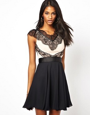 Image 1 of Elise Ryan Contrast Skater Dress in Eyelash Lace