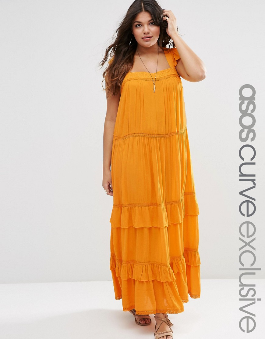 Image 1 of ASOS CURVE Boho Maxi Dress with Ruffles & Lace Insert