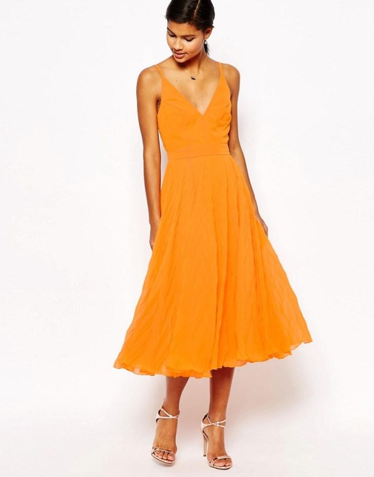 ASOS Chevron Textured Pleated Cami Midi Dress