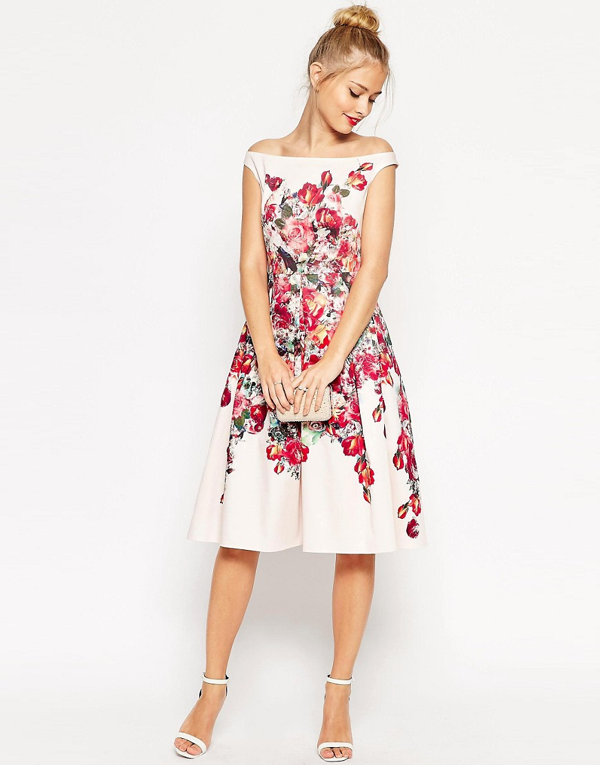 Image 1 of ASOS Vintage Floral Bardot Prom Dress