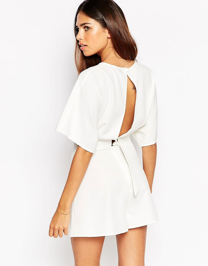 Image 1 of ASOS Kimono Playsuit with Open Back and D-Ring