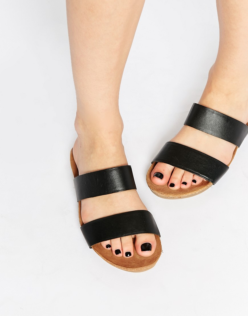 Image 1 of ASOS FENDALL Footbed Leather Sliders