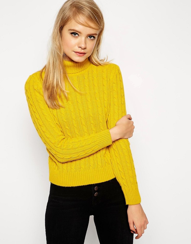 ASOS Cable Sweater With Roll Neck