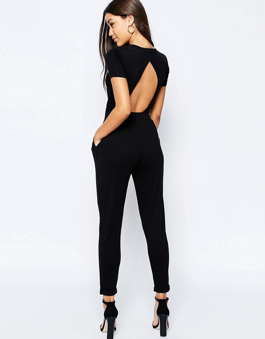 ASOS Wrap Front Jersey Jumpsuit With Short Sleeve