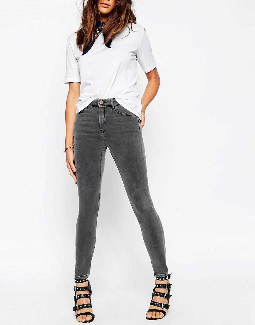 Image 1 ofASOS Ridley High Waist Skinny Jeans in Slated Grey