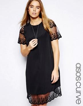 Image 1 ofASOS CURVE Shift Dress With Lace Hem
