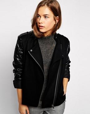 Image 1 ofmbyM Jacket With PU Sleeves & Asymmetric Zip