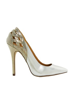 Image 1 ofNew Look Web Silver Heeled Shoes