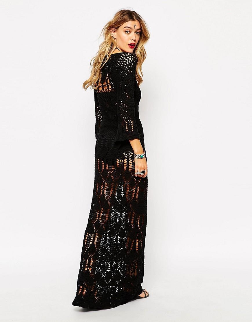 Image 2 - Rat & Boa - Maxi robe en dentelle crochetée avec lien à nouer sur le devant