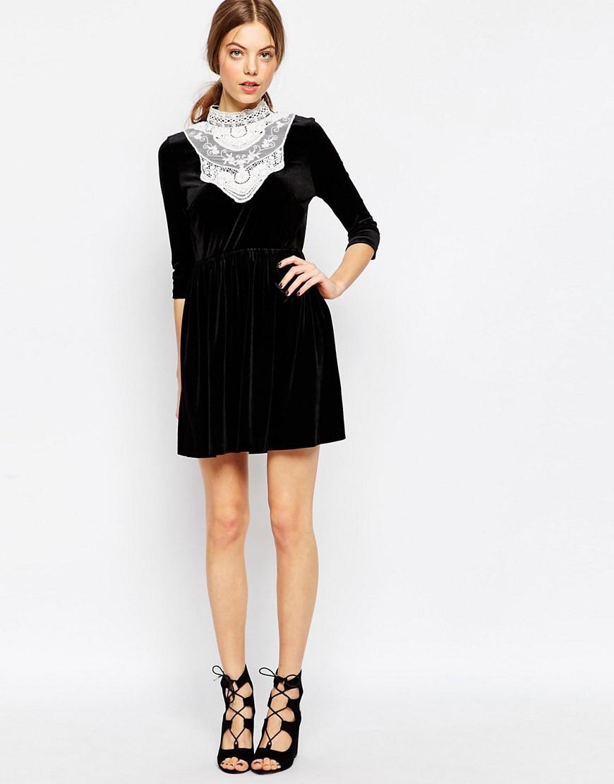 Image 4 ofASOS Velvet Skater Dress With Lace Bib