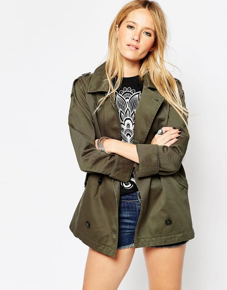 ASOS Shacket with Military Detail - Khaki