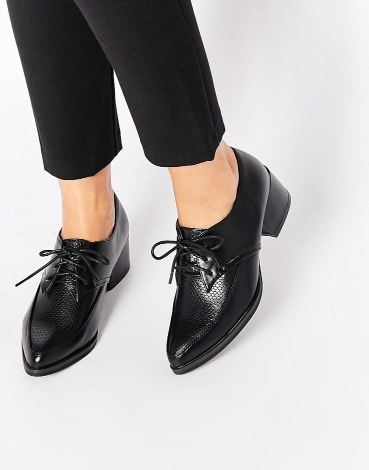 Daisy Street Kitten heel Snake Effect Masculine Shoes - Black