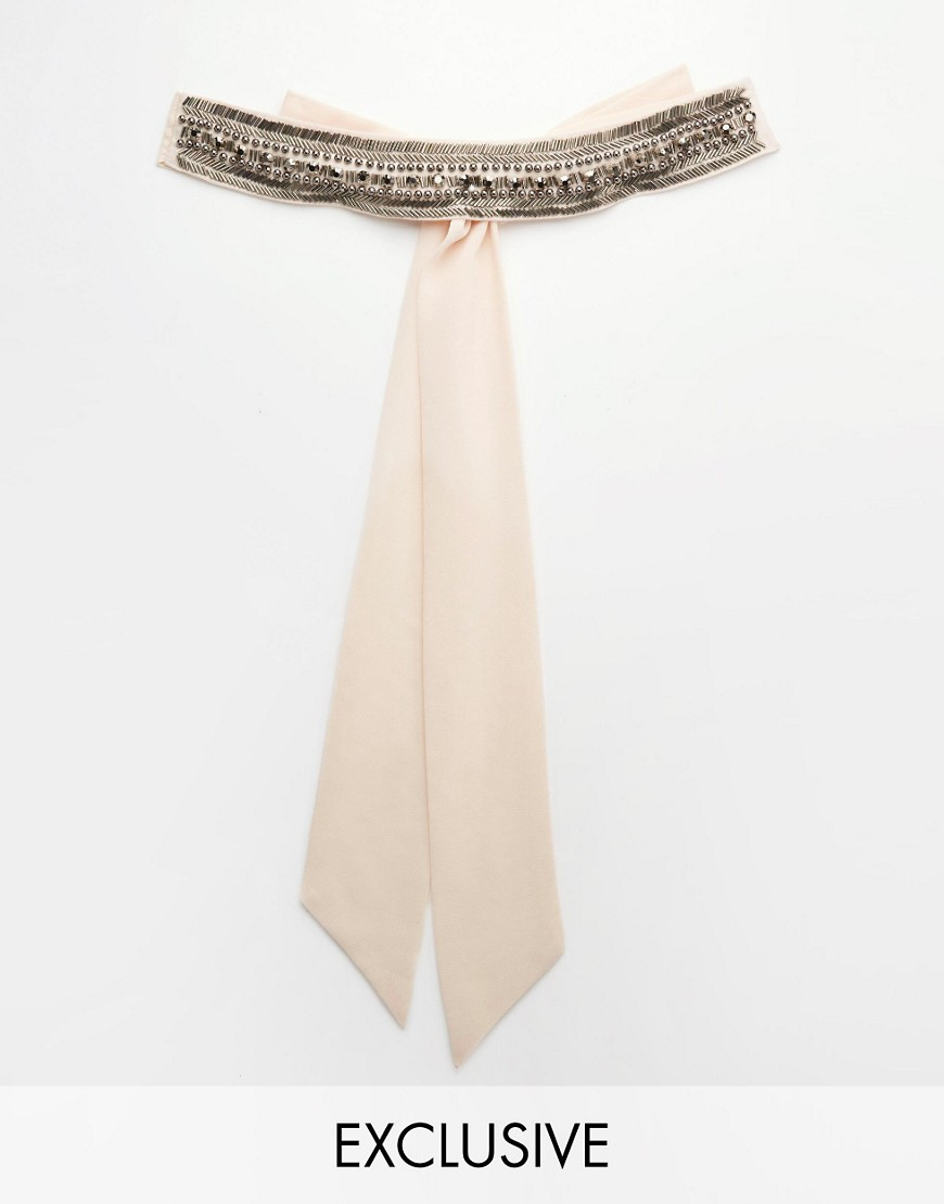 Image 1 of TFNC WEDDING Chiffon Occasion Belt with Embellishment in Nude Pink
