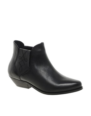 Image 1 of ASOS AGENT Leather Western Ankle Boots